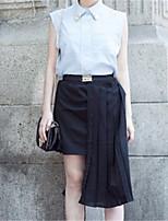 Mulheres Saias Mini Moda de Rua Poliéster Sem Elasticidade Mulheres