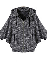 Women's Solid Black Coat,Simple ½ Length Sleeve Polyester