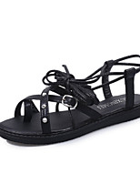 Women's Shoes Leatherette Flat Heel Peep Toe / Round Toe Sandals Outdoor / Casual Black / Silver