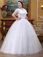 A-line Wedding Dress-White Floor-length V-neck Lace / Tulle