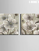 E-HOME® Stretched Canvas Art Elegant Flowers Decoration Painting  Set of 2