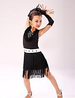 Vestidos(Negro / Azul / Fucsia / Rojo / Royal Blue / Amarillo,Poliéster,Danza Latina) -Danza Latina- paraNiños