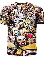 Tee-Shirt Décontracté / Sport Pour des hommes Manches Courtes A Motifs Coton