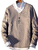 Masculino Camiseta Casual Cor Solida Algodão / Poliéster Manga Comprida Masculino