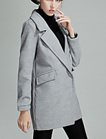 Women's Solid Gray Pea Coats,Simple Long Sleeve Wool