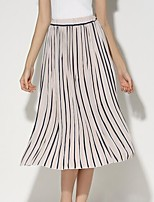 Women's Striped Pleated All Match Fashion Classic Skirts,Vintage / Casual / Day Midi