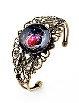 Lureme® Vintage Jewelry Time Gem Series Bright Sky Antique Bronze Hollow Flower Open Bangle Bracelet for Women