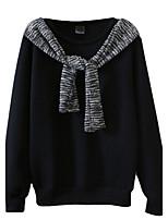 Hoodies Aux femmes Décontracté / Quotidien Simple Mosaïque Blanc / Noir Coton