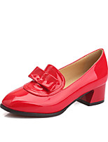 Women's Shoes Patent Leather Chunky Heel Heels / Comfort / Pointed Toe Heels Office / Casual Black / Red / White
