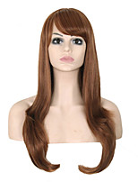Long Length Straight Hair European Weave Brown Color Hair Synthetic Wig