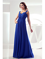 Floor-length Chiffon Bridesmaid Dress-Royal Blue Sheath/Column V-neck