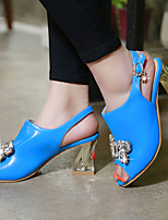 Chaussures Femme-Extérieure / Habillé / Décontracté-Noir / Bleu / Blanc-Gros Talon-Bout Ouvert-Sandales-Similicuir