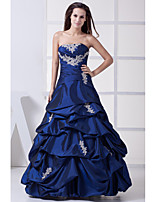 Formal Evening Dress-Royal Blue Ball Gown Strapless Floor-length Taffeta
