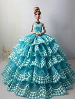 Poupée Barbie-Bleu Ciel-Mariage-Robes- enSatin / Dentelle