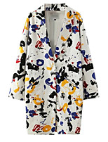 Women's Print White Coat,Simple / Street chic Long Sleeve Cotton
