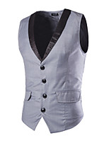 Men's Korean Version Of Slim Single Breasted Suit Vest,Cotton / Polyester Formal Patchwork