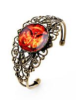 Lureme® Vintage Jewelry Time Gem Series Burning Bird Antique Bronze Hollow Flower Open Bangle Bracelet for Women