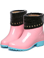 Women's Shoes PVC Low Heel Rain Boots Flats / Boots Outdoor Black / Blue / Pink
