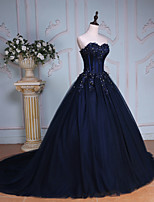 Formal Evening Dress-Lilac / Dark Navy / Dark Green / Gold Ball Gown Sweetheart Chapel Train Lace / Tulle