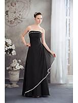 Vestido-Marfim / preto Festa Formal A-Line Com Alças Finas Longo Chiffon
