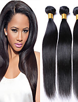 3Bundles Brazilian Virgin Hair Weave Natural Black Straight Hair Unprocessed Virgin Human Hair Weaves.