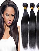 3Bundles teje armadura sin procesar del pelo brasileño virginal del pelo negro natural del pelo recto virginal humano.