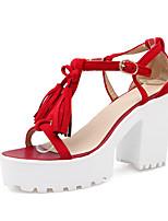 Calçados Femininos-Sandálias-Plataforma / Bico Aberto-Salto Grosso-Preto / Azul / Vermelho / Bege-Courino-Social / Casual