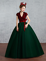 Formal Evening Dress-Burgundy Floor-length V-neck Cotton