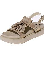 Chaussures Femme-Habillé / Décontracté-Jaune / Amande-Plateforme-Gladiateur / Bout Arrondi / Bout Ouvert-Sandales-Synthétique