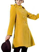 Women's Solid Pink / Yellow Coat,Simple Long Sleeve Wool