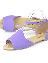Women's Shoes Synthetic Flat Heel Peep Toe Sandals Office & Career / Casual Black / Purple / Red