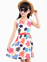 Girl's Blue / Pink / Red / White Dress,Floral Cotton Summer