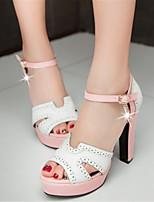 Chaussures Femme-Bureau & Travail / Habillé / Décontracté-Bleu / Rose / Beige-Gros Talon-Talons / A Plateau-Sandales-Similicuir
