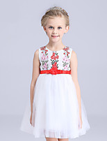 A-line Short/Mini Flower Girl Dress-Satin / Tulle / Polyester Sleeveless