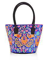 Women Canvas Shopper Shoulder Bag / Wristlet-Multi-color