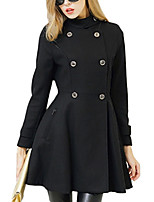 Women's Solid Black Coat,Simple Long Sleeve Wool