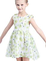 Girl's Green / Pink Dress Cotton / Polyester Summer