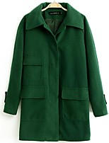 Women's Solid Red / Green Pea Coats,Street chic Long Sleeve Wool