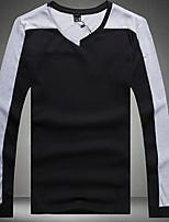Men's Long Sleeve T-Shirt,Cotton / Spandex Casual Patchwork