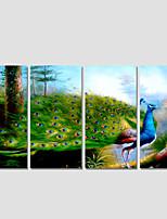Moderni / Eläin / Landscape Canvas Tulosta 4 paneeli Valmis Hang,Neliö