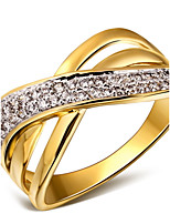 Hollow Design Cubic Zirconia 18K Gold & Platinum Contrast Plated Women Rings Lead Free Copper Ring