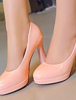 Scarpe Donna-Scarpe col tacco-Formale / Serata e festa-Tacchi / Plateau / Punta arrotondata-A rocchetto-Finta pelle-Nero / Rosa / Bianco
