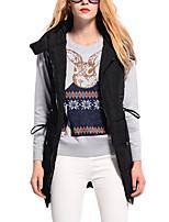 Women's Solid Black Padded Coat,Simple Hooded Sleeveless