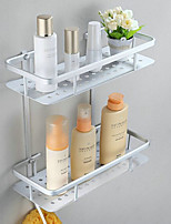 Double-deck Contemporary Space Aluminum Anodizing Wall Mounted Bathroom Shelf