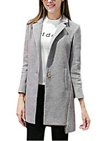 Women's Solid Black / Gray Coat,Simple Long Sleeve Wool