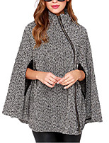 Women's Polka Dot Gray Cloak/Capes,Simple Long Sleeve Polyester