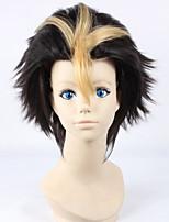 Haikyuu Nishinoya Yuu 30cm Short Straight Black Golden Color Men's Anime Cosplay Full Wig