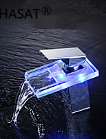 PHASAT®Bathroom Sink Faucets with Color Changing LED Waterfall Bathroom Sink Faucets