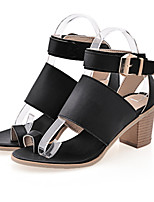 Women's Shoes Leatherette Chunky Heel Heels Sandals Office & Career / Dress / Casual Black / White