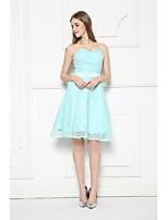 Knee-length Lace Bridesmaid Dress-Sky Blue A-line Strapless